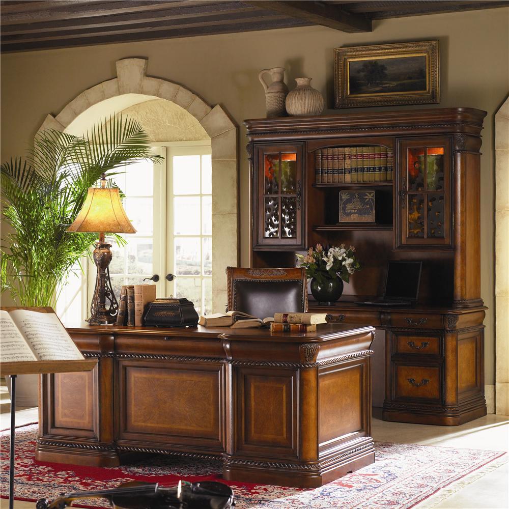 Warm Cherry Executive Desk Home Office Collection: Aspenhome Napa 7 Drawer Executive Desk With Ash Burl
