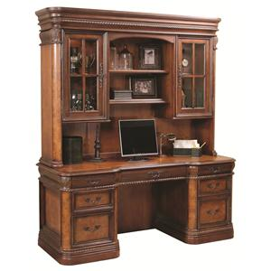 Napa  72-Inch Kneehole Computer Credenza & Display Hutch with Three-Way Touch Lighting by Aspenhome