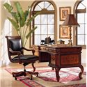 Aspenhome Napa  Traditional 60-Inch Writing Desk with Bold Cabriole Legs and Ash Burl Panels - Shown with Office Chair