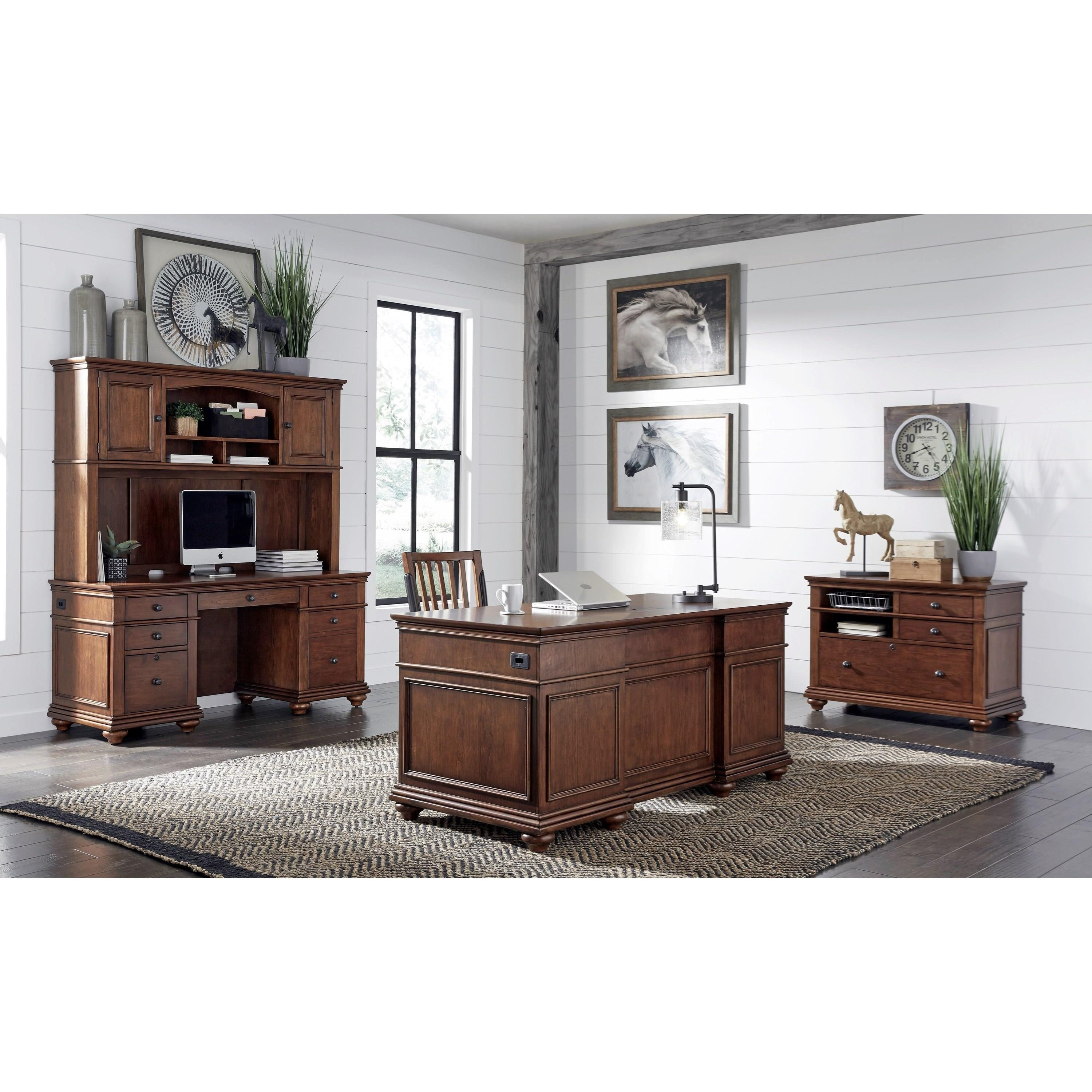 Aspenhome Oxford Executive Desk With Locking File Drawers