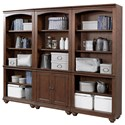 Aspenhome Oxford Bookcase Wall - Item Number: I07-332+2x333-WBR