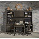 Aspenhome Oxford Modular Home Office Wall Unit - Item Number: I07-341+339+344+385L+385R+385DC-PEP