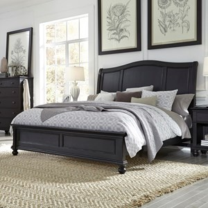 Transitional Queen Sleigh Bed with USB Ports