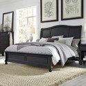 Aspenhome Oxford Queen Sleigh Bed - Item Number: I07-400+403+402-BLK