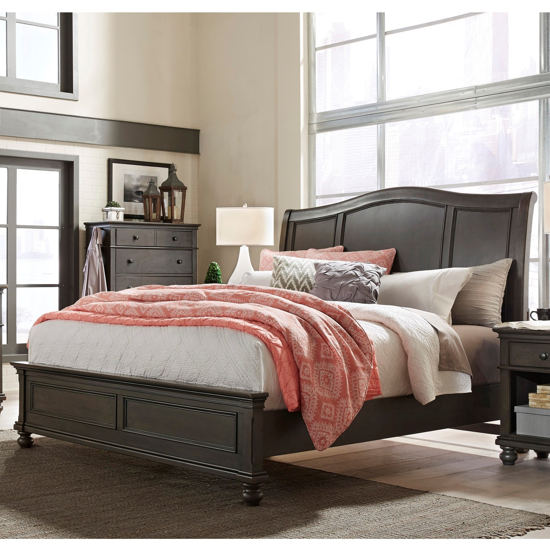 Aspenhome Oxford Queen Sleigh Bed - Item Number: I07-400+403+402-PEP