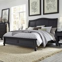 Aspenhome Oxford King Sleigh Bed - Item Number: I07-404+407+406-BLK
