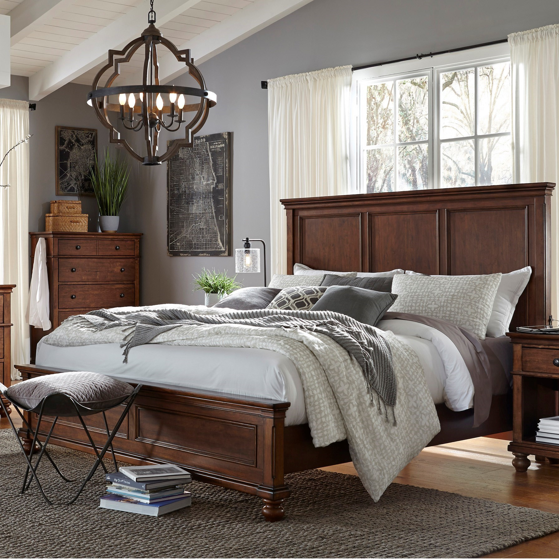 Aspenhome Oxford Queen Bed - Item Number: I07-412+403+402-WBR