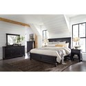 Aspenhome Oxford Transitional California King Panel Bed with USB Ports