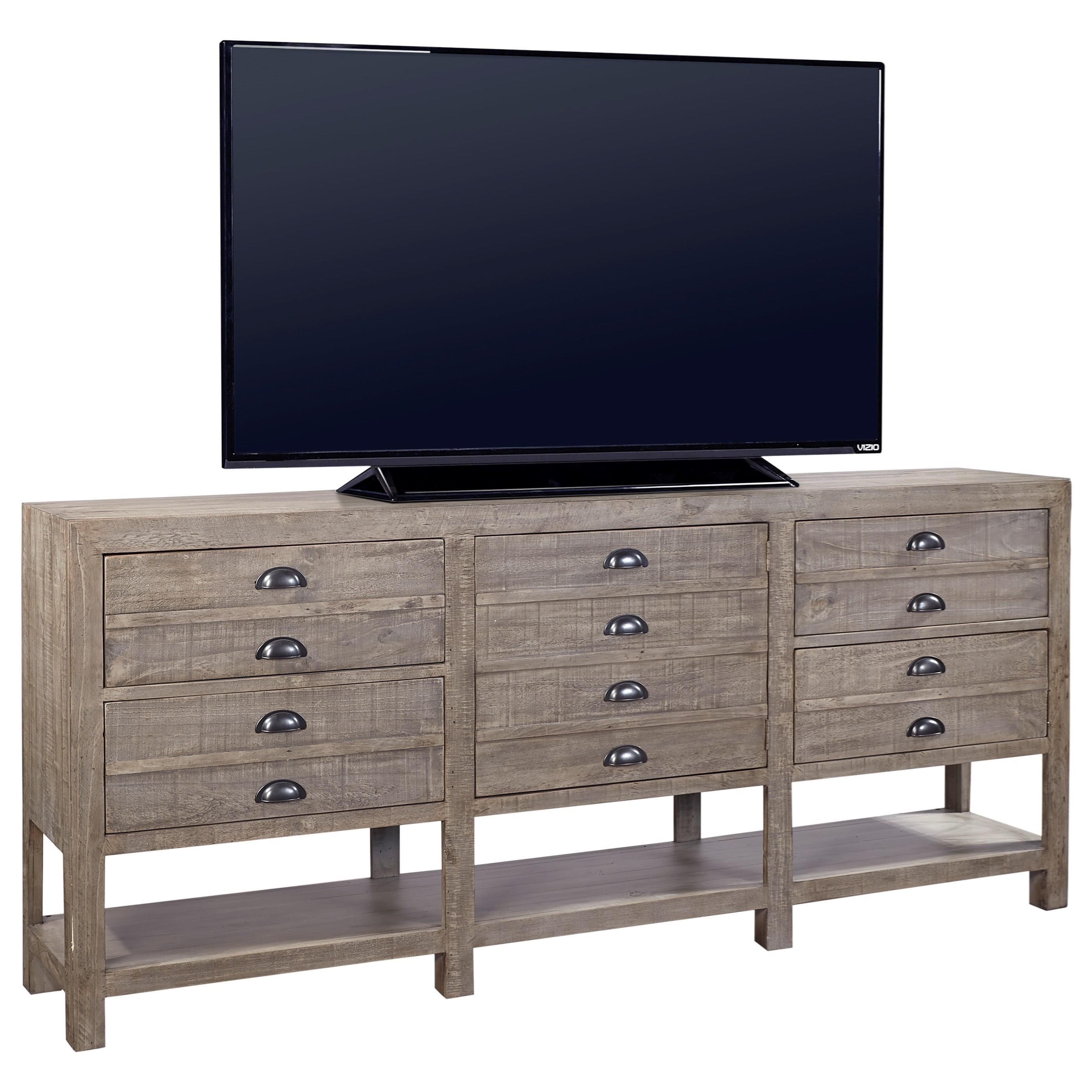 "Highland Court Perris  93"" Console with Open Shelf - Item Number: I54-293-OYS"