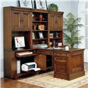 Morris Home Furnishings Richmond 34 Inch Credenza Computer Desk and Door Hutch - Shown with Open Hutch, Drawer Unit, Rolling File, and Partner\'s Desk Base, Top and Side Panel