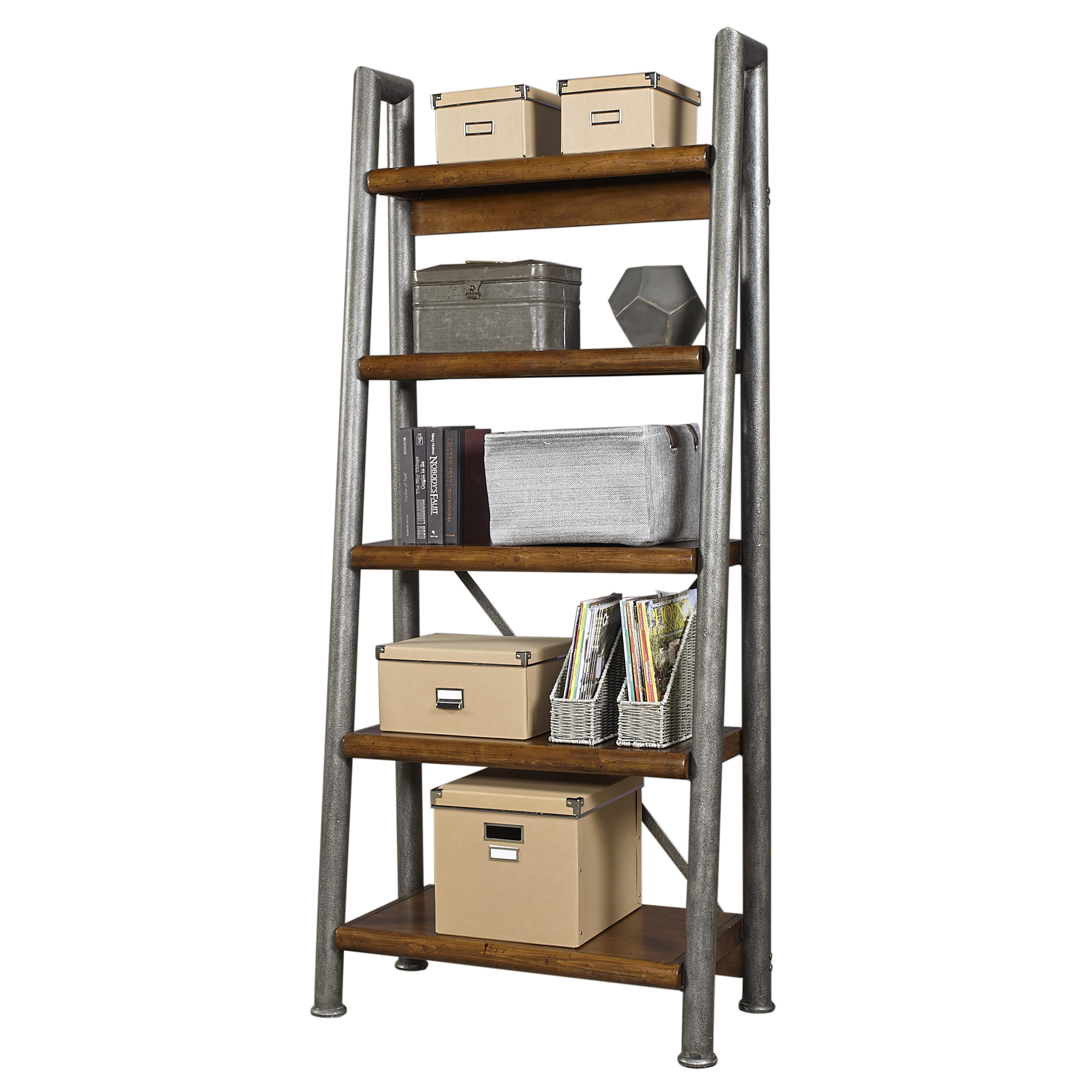 Aspenhome Rockland Leaning Metal and Wood Bookcase - Item Number: I58-392