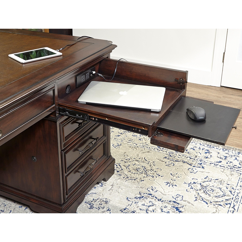 "Aspenhome Warm Cherry Executive Modular Home Office: Aspenhome Sheffield Traditional 75"" Executive Desk With"