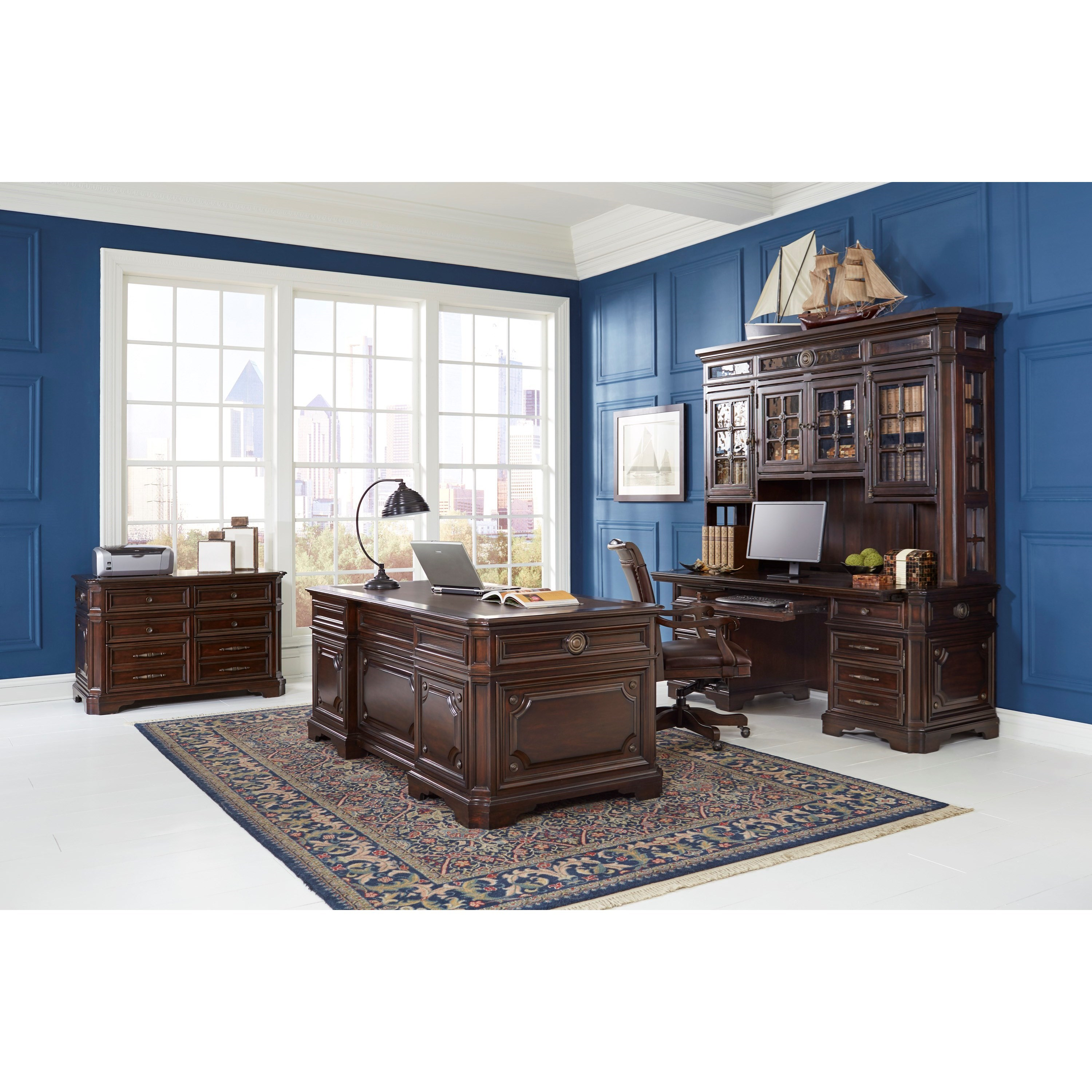 "Aspenhome Sheffield Traditional 75"" Credenza Desk With LED"