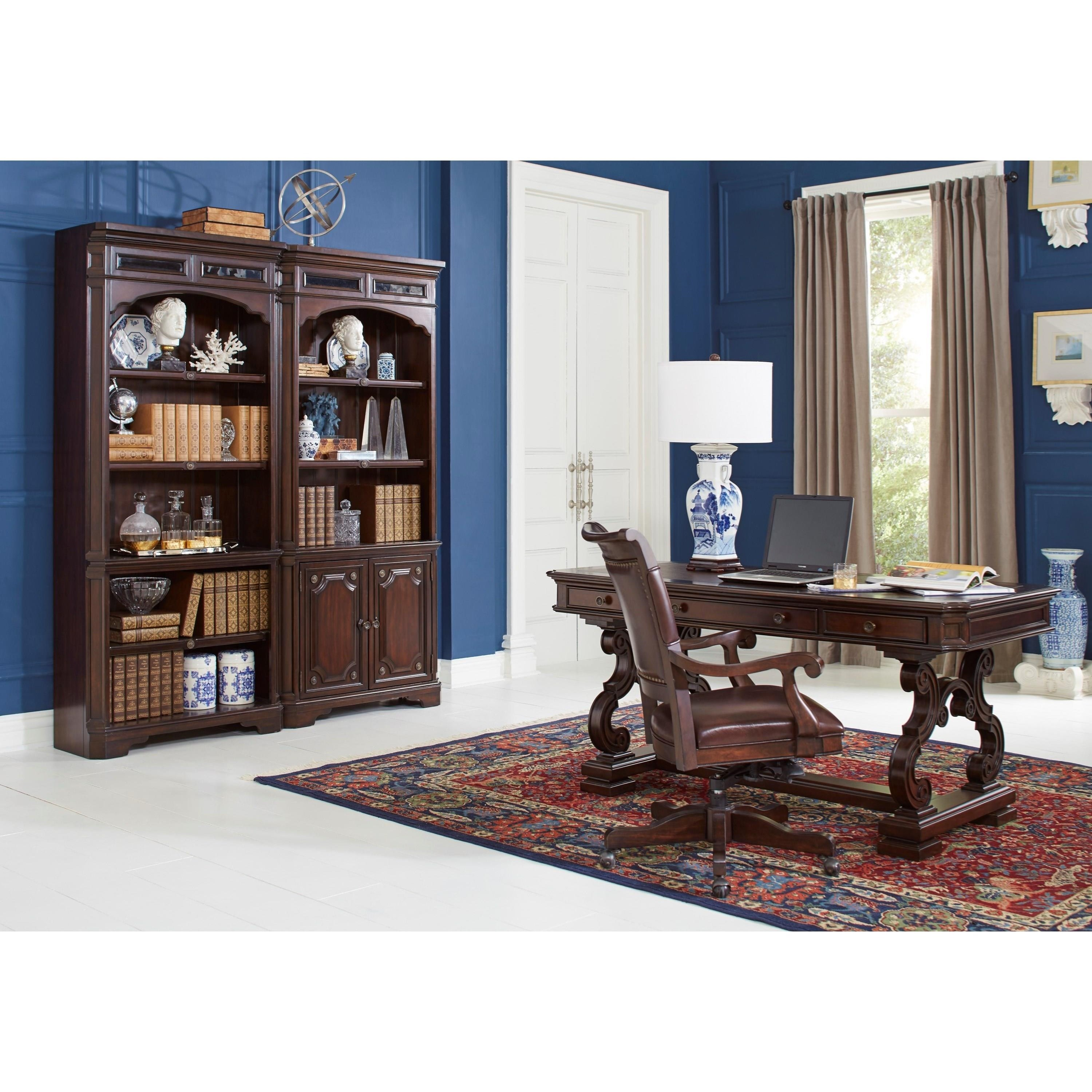"Traditional 66"" Writing Desk With Faux Leather Top"
