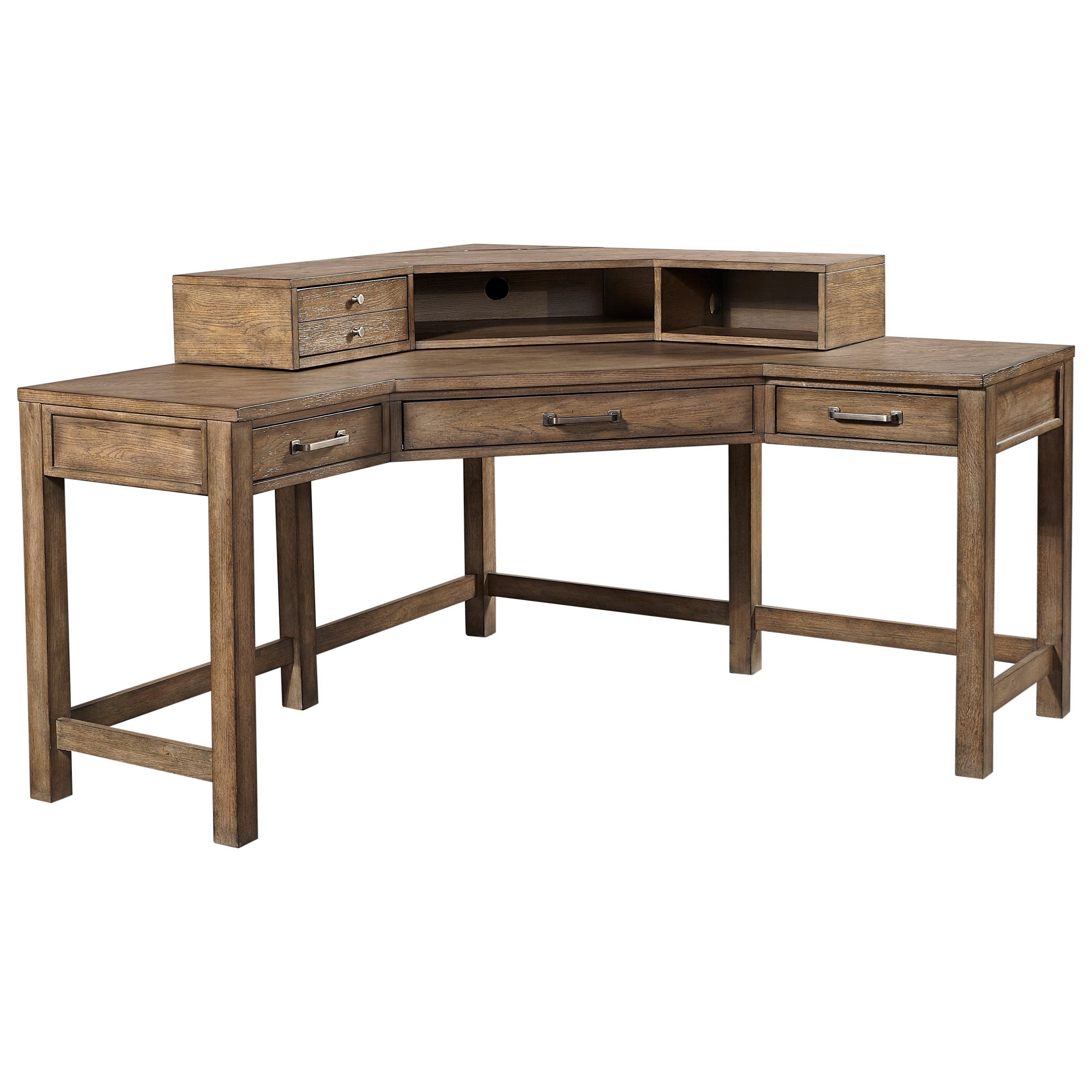 Aspenhome Terrace Point Casual Corner Desk And Hutch With Outlets And Usb Port Fisher Home Furnishings Table Desks Writing Desks