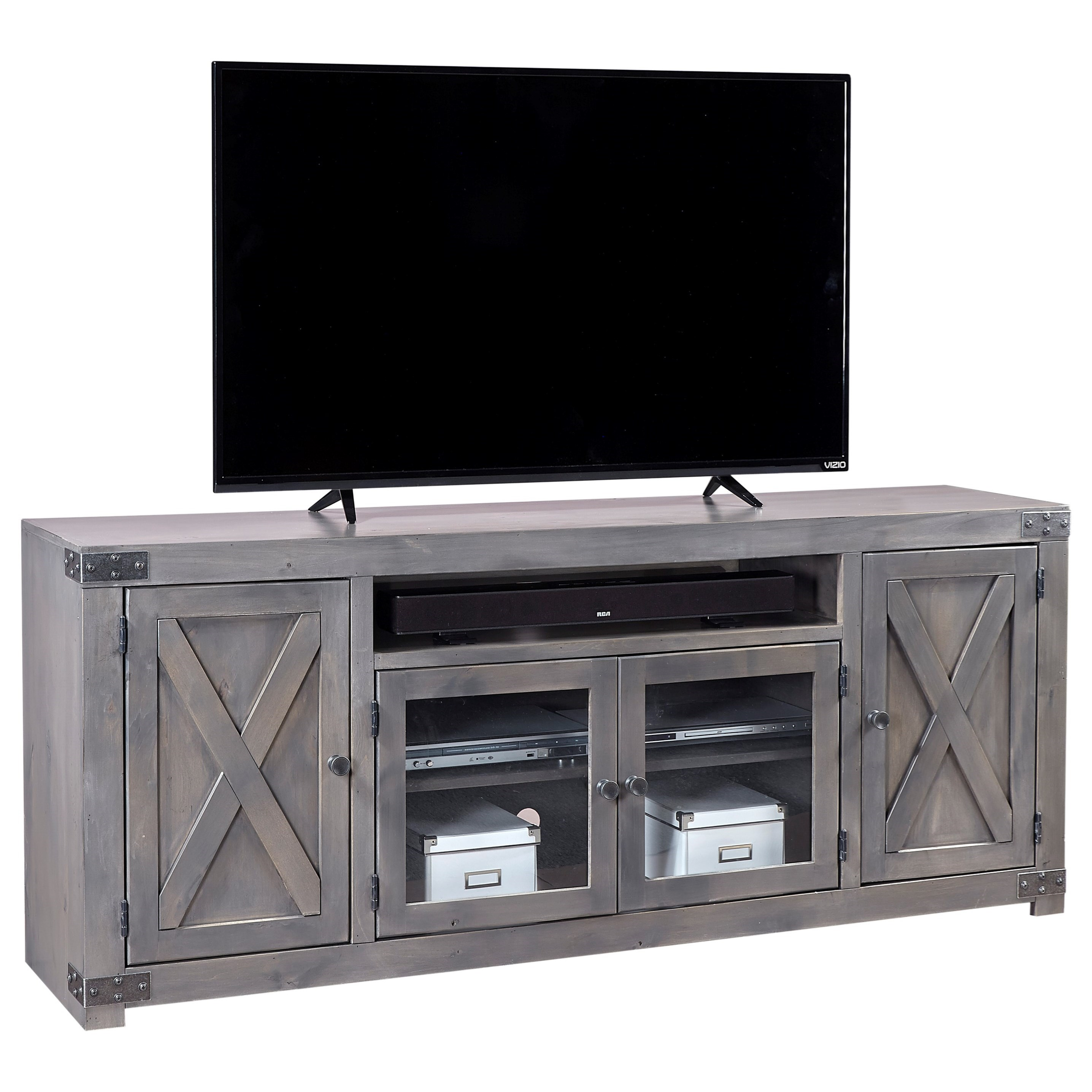 "Aspenhome Urban Farmhouse 72"" Entertainment Console  - Item Number: DF1072-GRY"