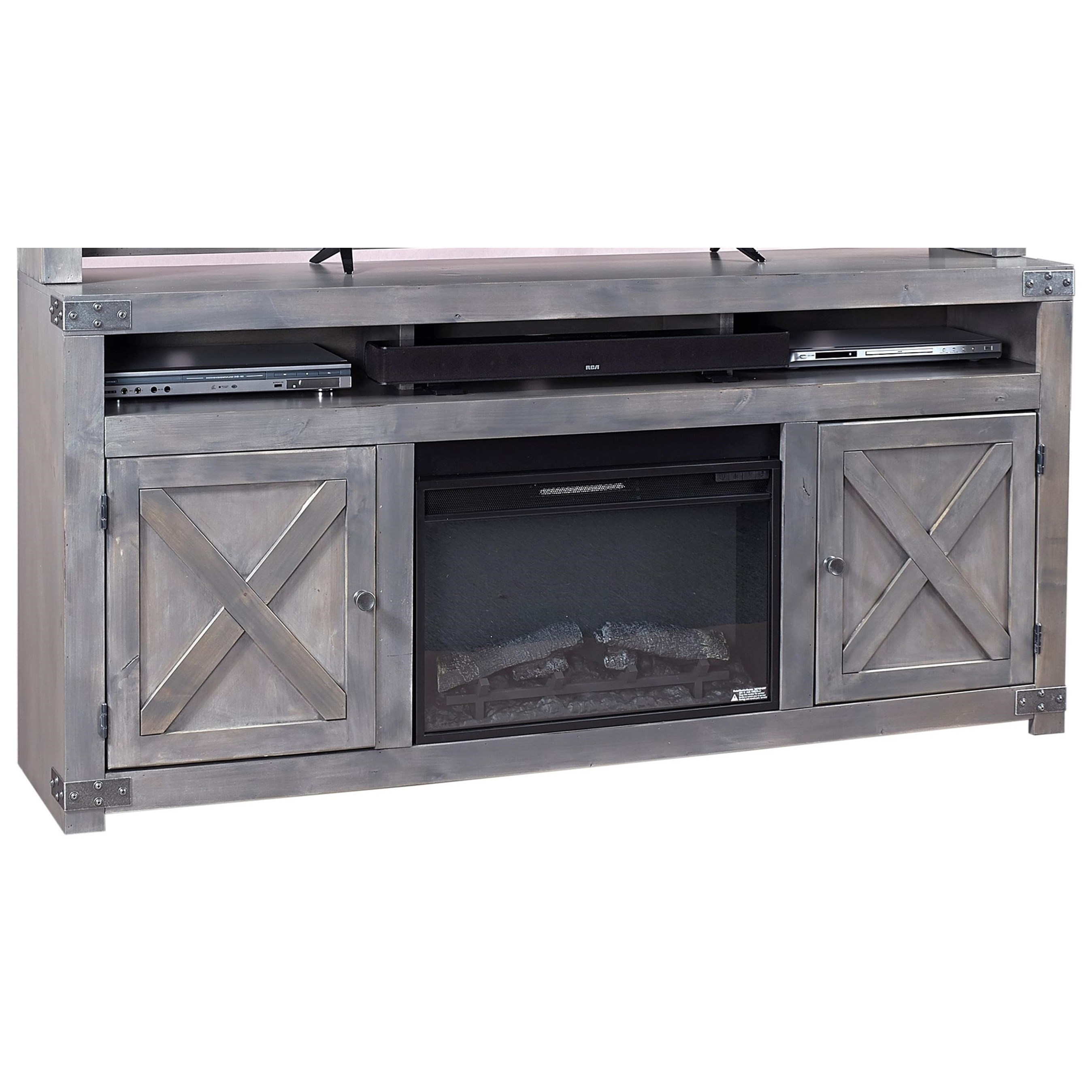"Aspenhome Urban Farmhouse 72"" Fireplace Console  - Item Number: DF1904-GRY"