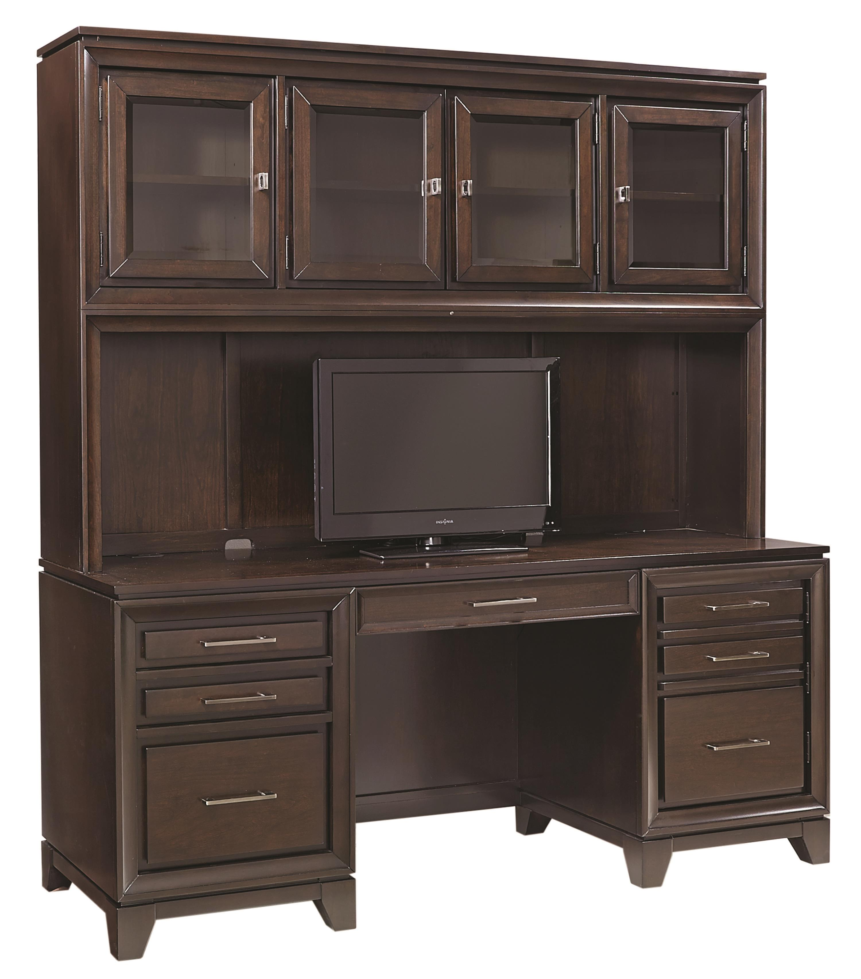 "Aspenhome Viewscape 72 "" Double Pedestal Credenza and Hutch - Item Number: I73-318+319"