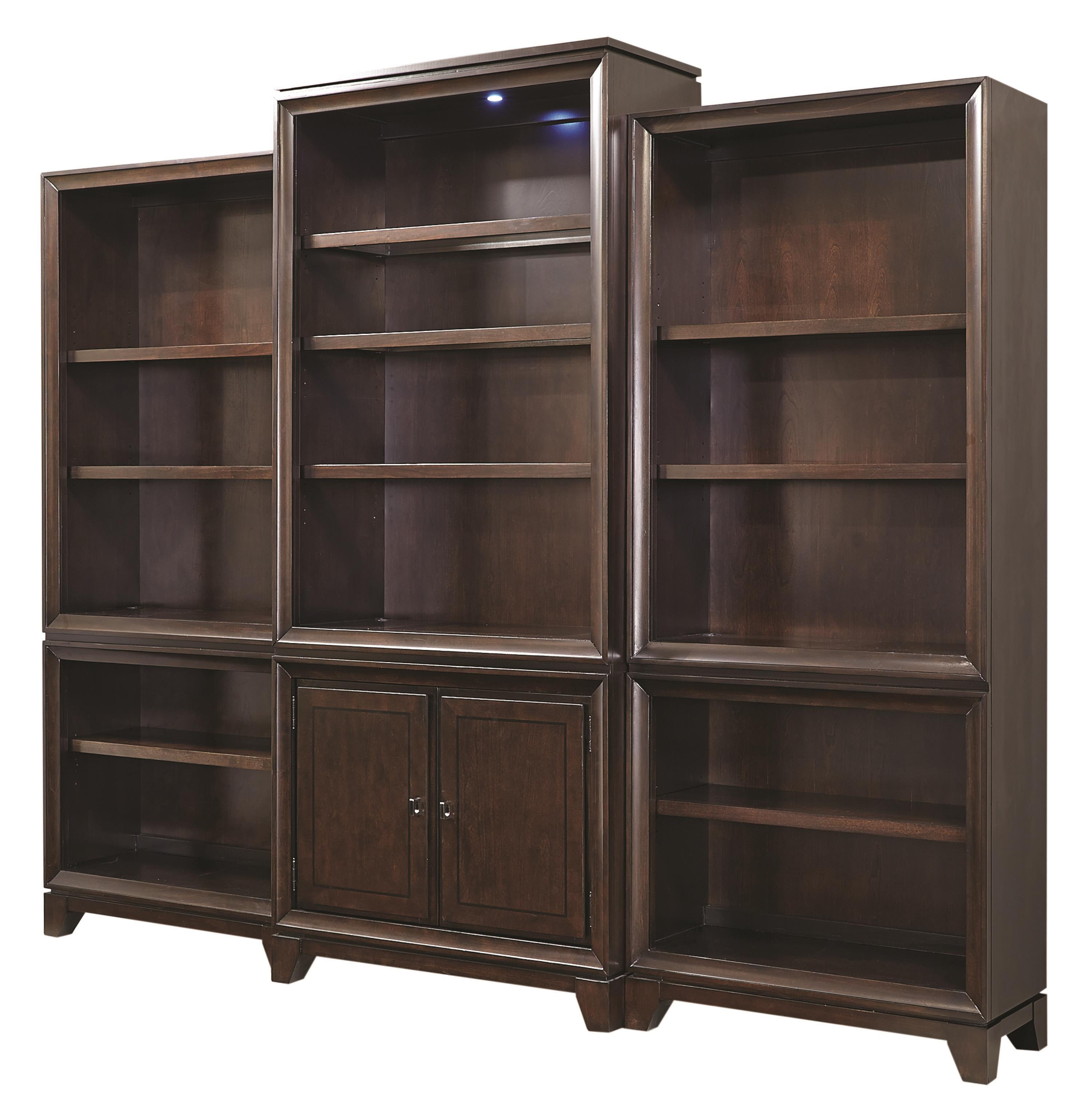 Aspenhome Viewscape Bookcase with Touch Lighting - Item Number: I73-336+2x333