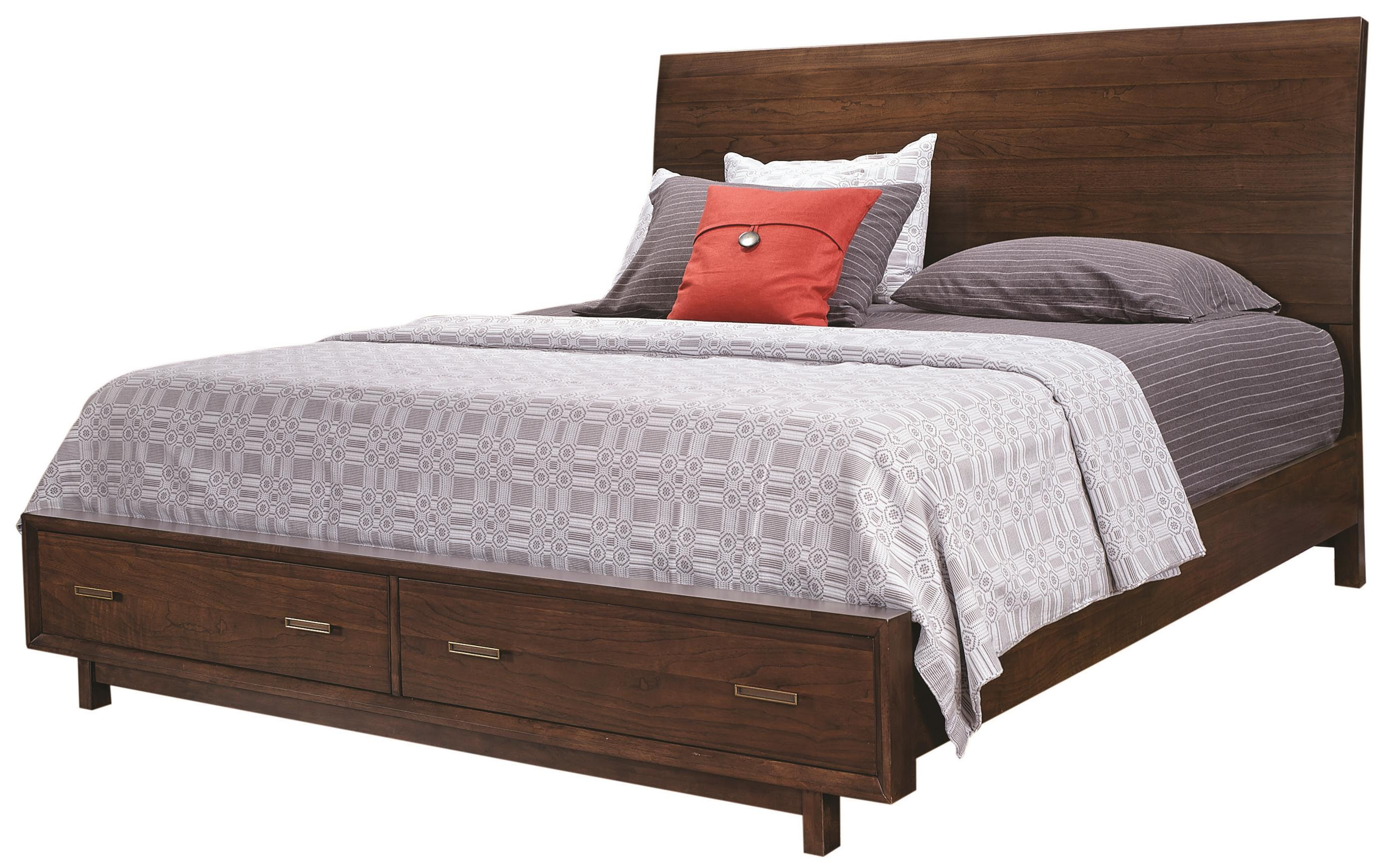 Aspenhome Walnut Heights King Sleigh Storage Bed - Item Number: IWH-404+407D+406
