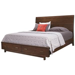 Aspenhome Walnut Heights Queen Sleigh Storage Bed