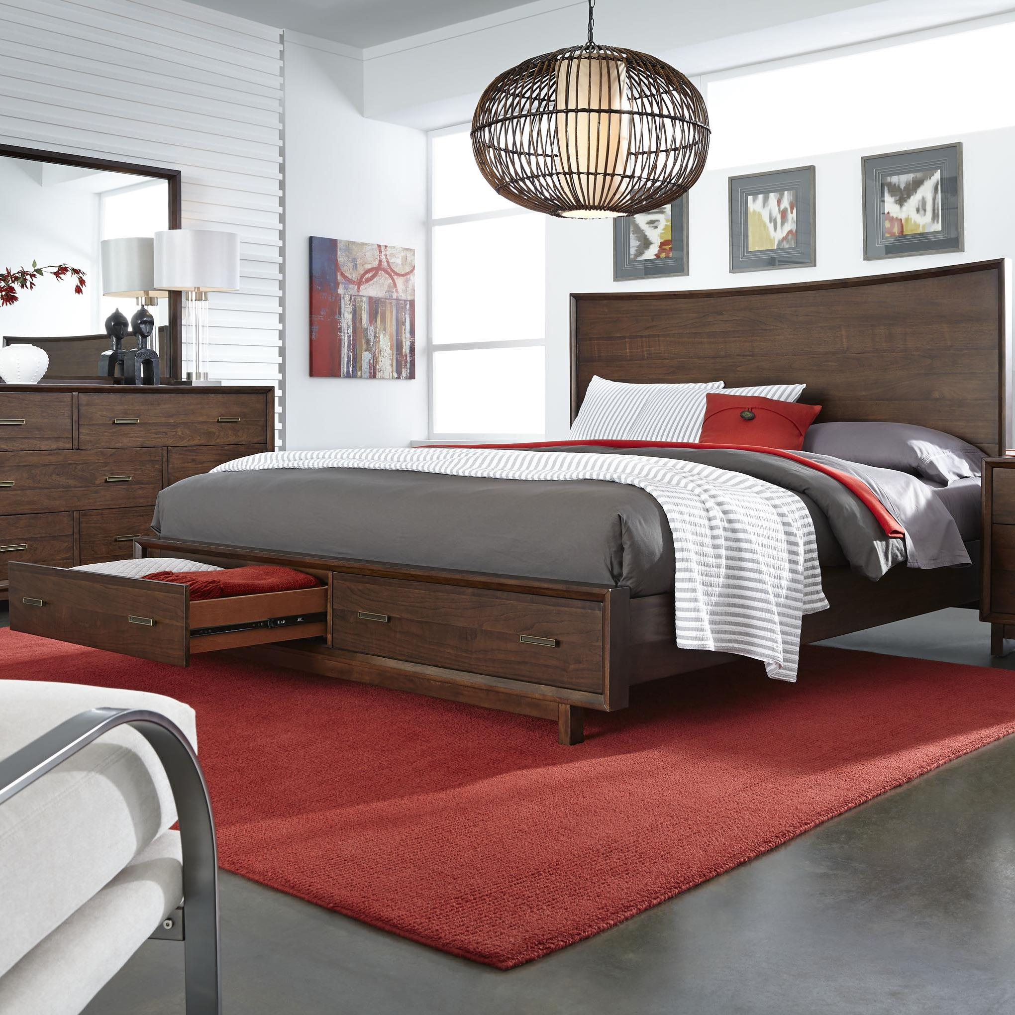 Aspenhome Walnut Heights King Panel Storage Bed - Item Number: IWH-415+407D+406