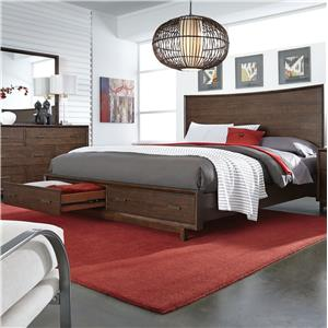 Aspenhome Walnut Heights King Panel Storage Bed