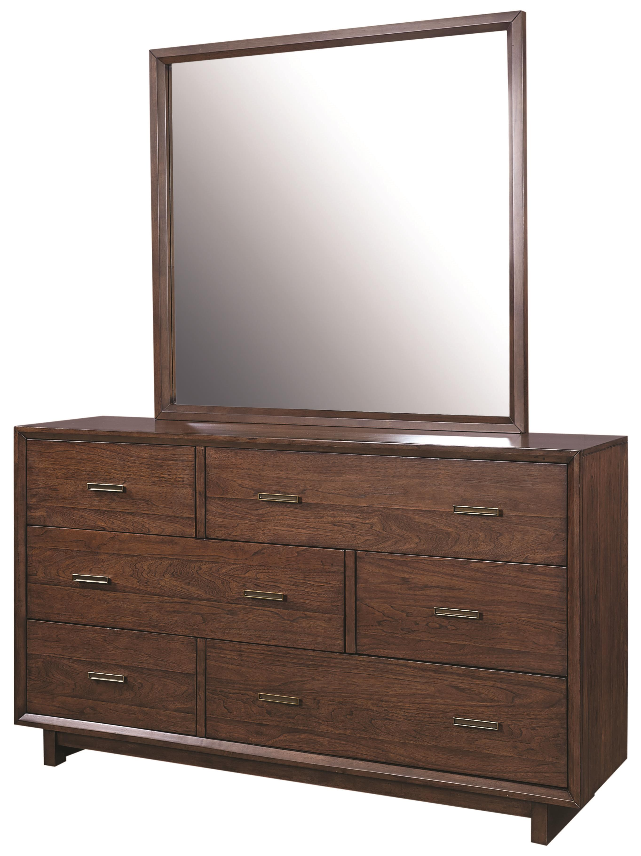 "Aspenhome Walnut Heights 62"" Asymmetrical Dresser and Mirror - Item Number: IWH-453+463"
