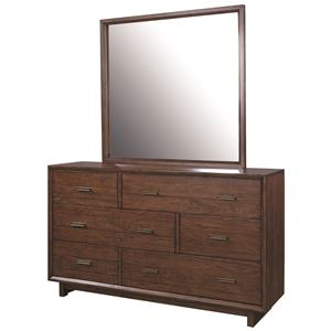 "Morris Home Furnishings Walnut Heights 62"" Asymmetrical Dresser and Mirror"
