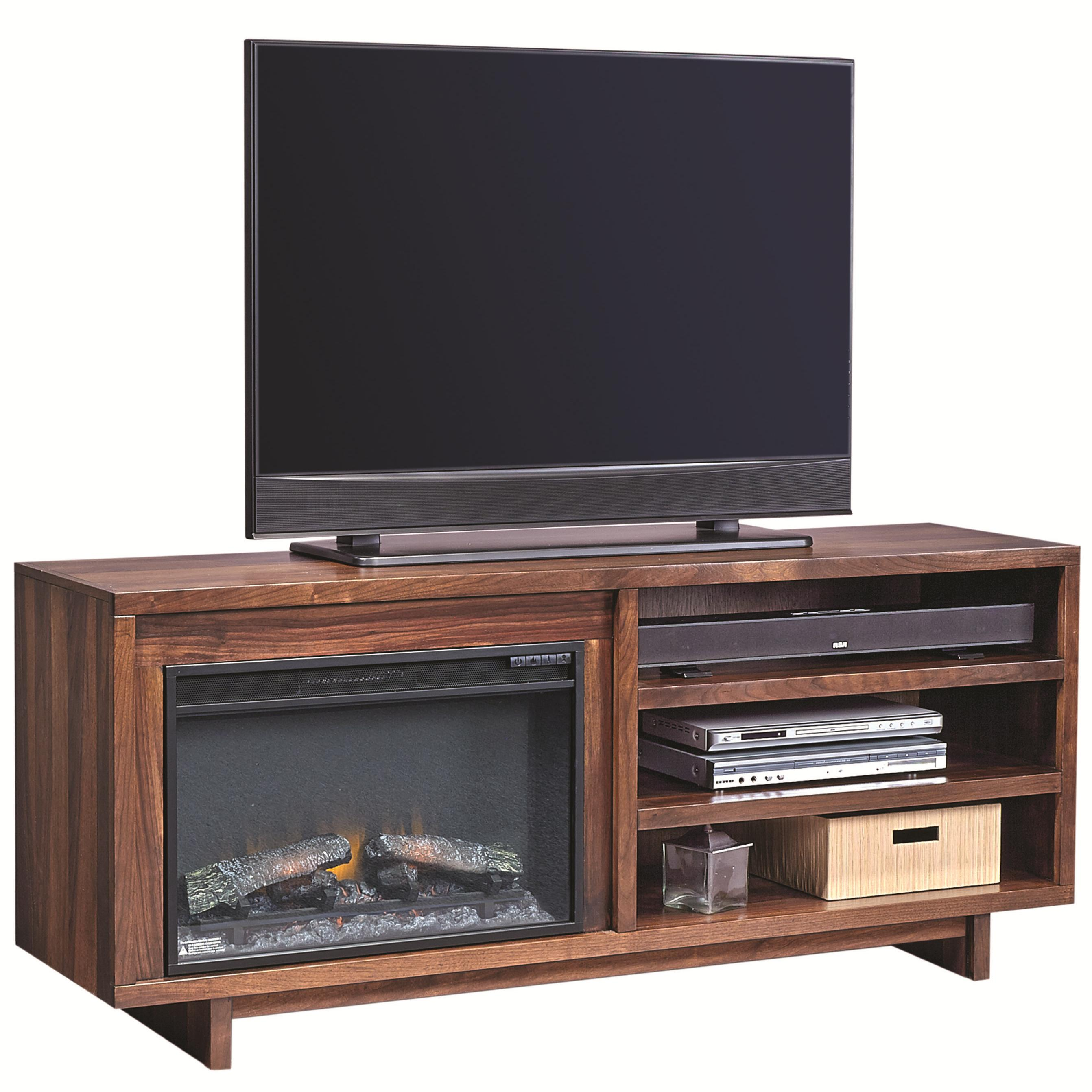 "Aspenhome Walnut Heights 65"" Fireplace Console - Item Number: WH1903-STO"