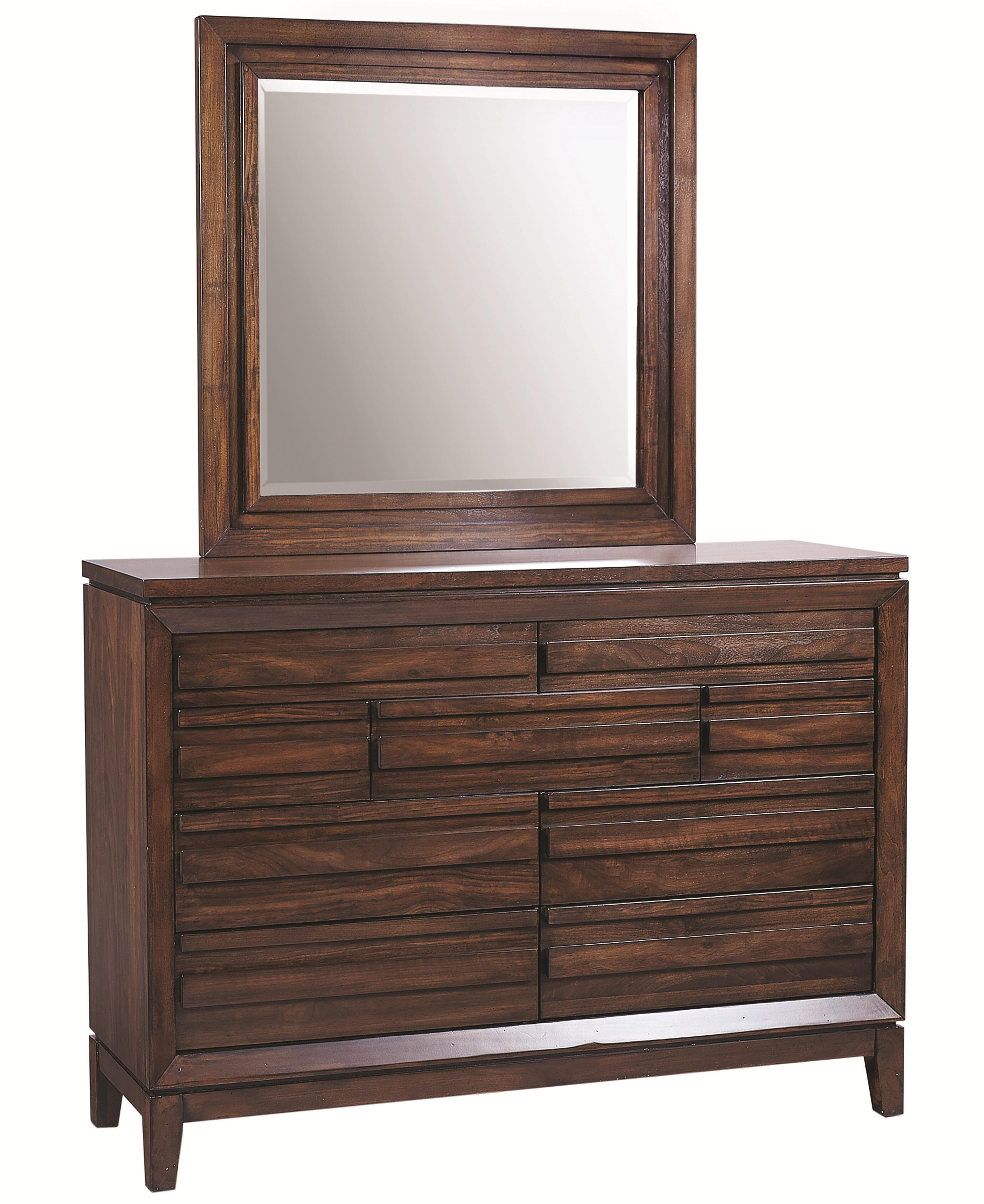 Aspenhome Walnut Park Chesser and Mirror - Item Number: I05-455+463