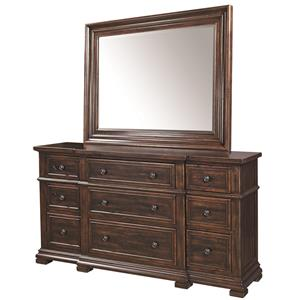 Aspenhome Westbrooke Breakfront Dresser and Mirror Set