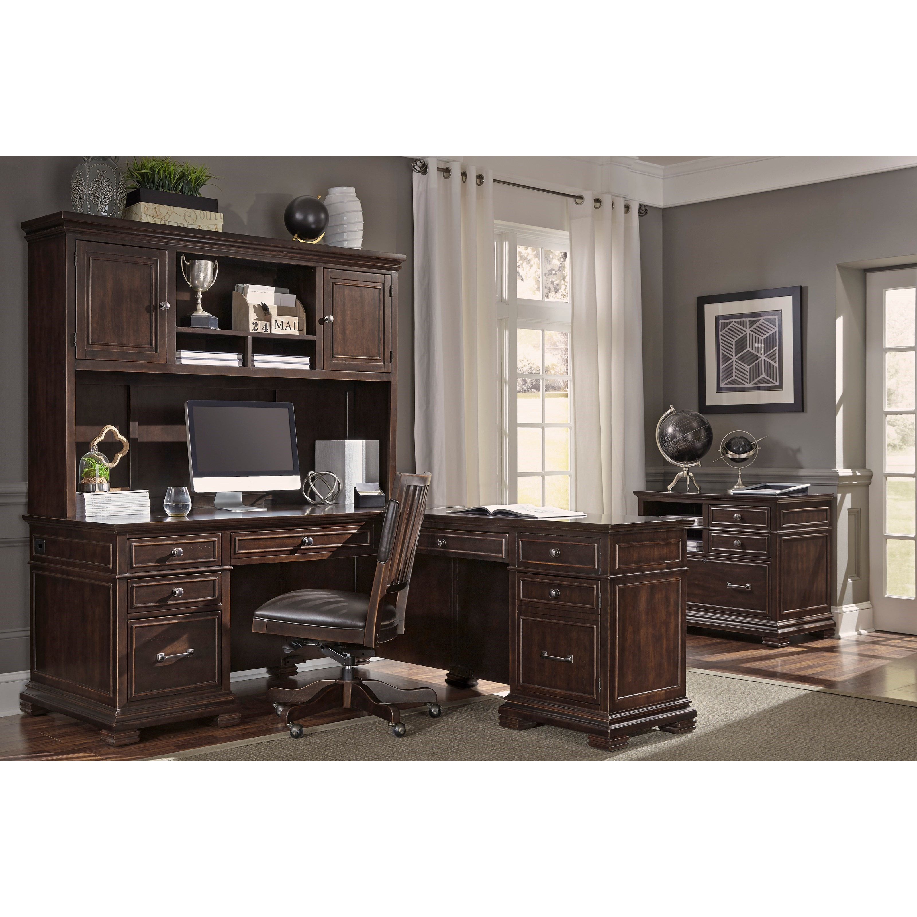 Aspenhome Weston L-Shaped Desk With Hutch And Built-in