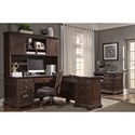 Aspenhome Weston L-Shaped Desk with Hutch and Built-in Outlets