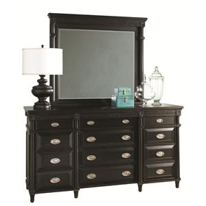 Young Classics Triple Front 12-Drawer Master Dresser & Beveled Glass Landscape Mirror Set by Aspenhome
