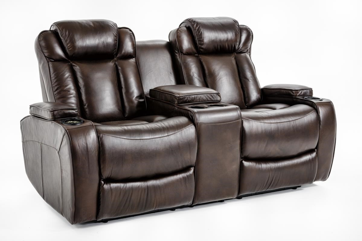Ausen AS4062 Power Reclining Loveseat w/ Console - Item Number: AS4062-8406 PWR RECL
