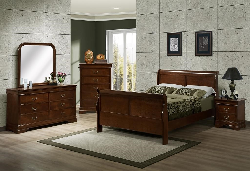 Austin Group Marseille Full Sleigh Bed, Dresser, Mirror & Nightstsa - Item Number: AUGR-GRP-329-FULLSUITE