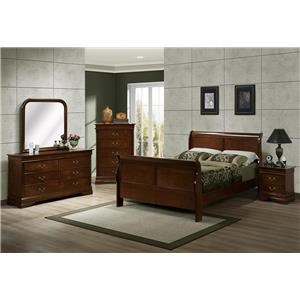Austin Group Marseille King Sleigh Bed, Dresser, Mirror & Nightstan