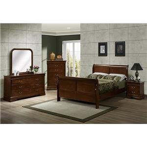 Austin Group Marseille Queen Sleigh Bed, Dresser, Mirror & Nightsta