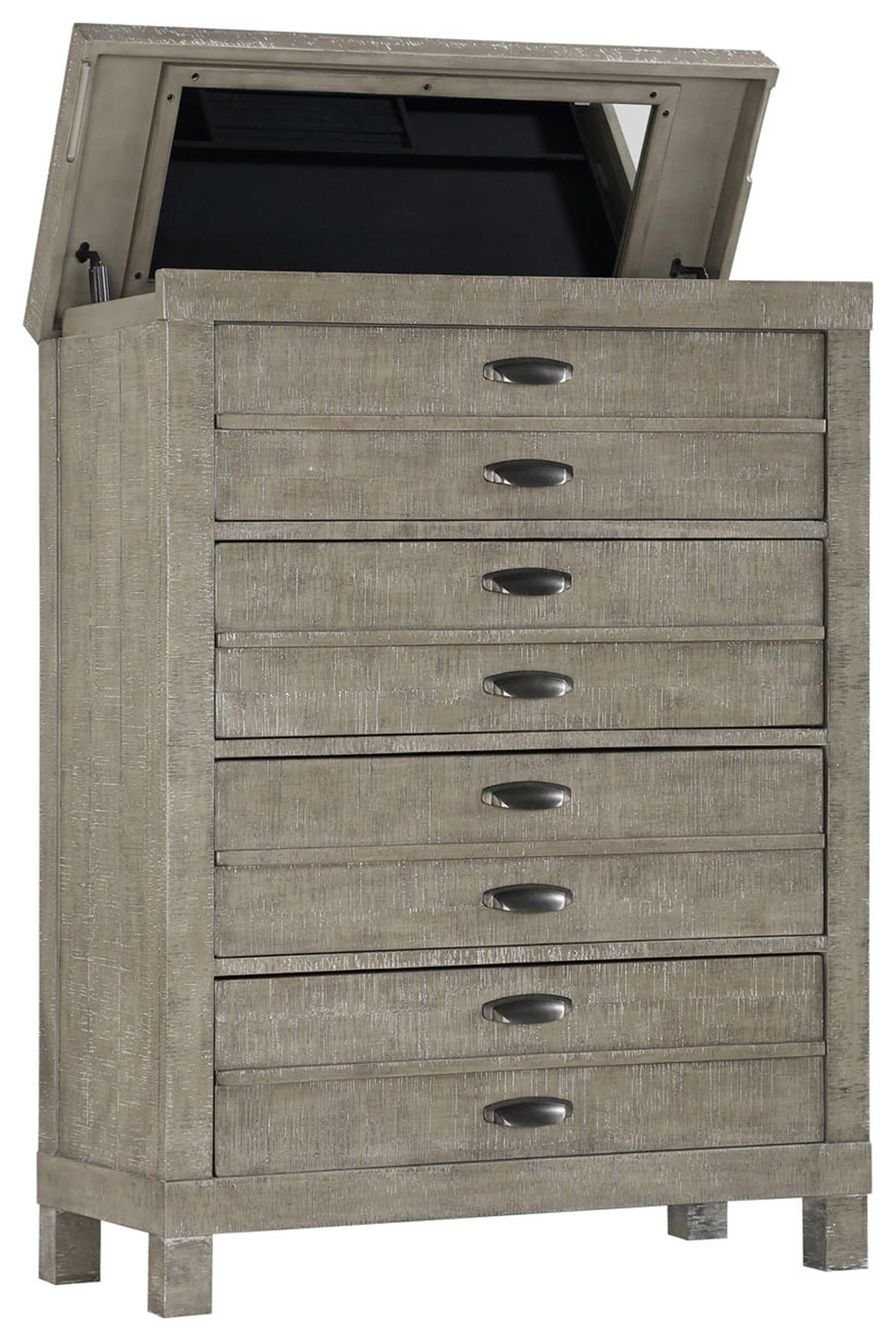 Lift Top Chest with Jewelry Tray & Mirror