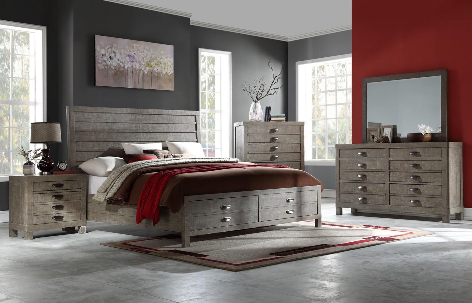 King Bed with Dresser, Mirror, & Nightstand