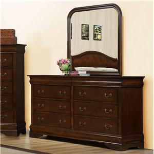 Austin Group Big Louis Transitional 8-Drawer Dresser & Landscape Mirror Set