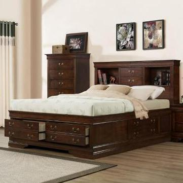 Austin Group Big Louis Queen Transitional Storage Bed with Bookcase - Item Number: AUGR-GRP-329-QUEEN-STORAGE-BED