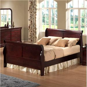 Austin Group Bordeaux  Queen Transitional Cherry Sleigh Bed
