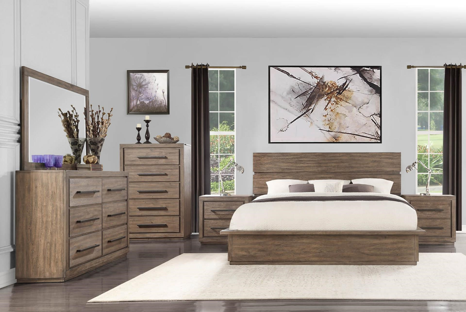 King Bed with Dresser, Mirror, and Nightstan