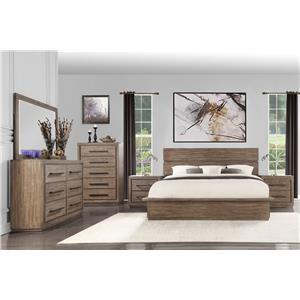Queen Bed with Dresser, Mirror, and Nightsta