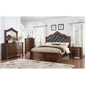 Austin Group Montarosa King Bed, Dresser, Mirror, and Nightstand