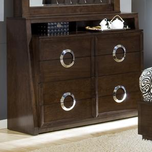 Austin Group Presley 520 Contemporary 4 Drawer Dresser With Chrome Drawer  Handles