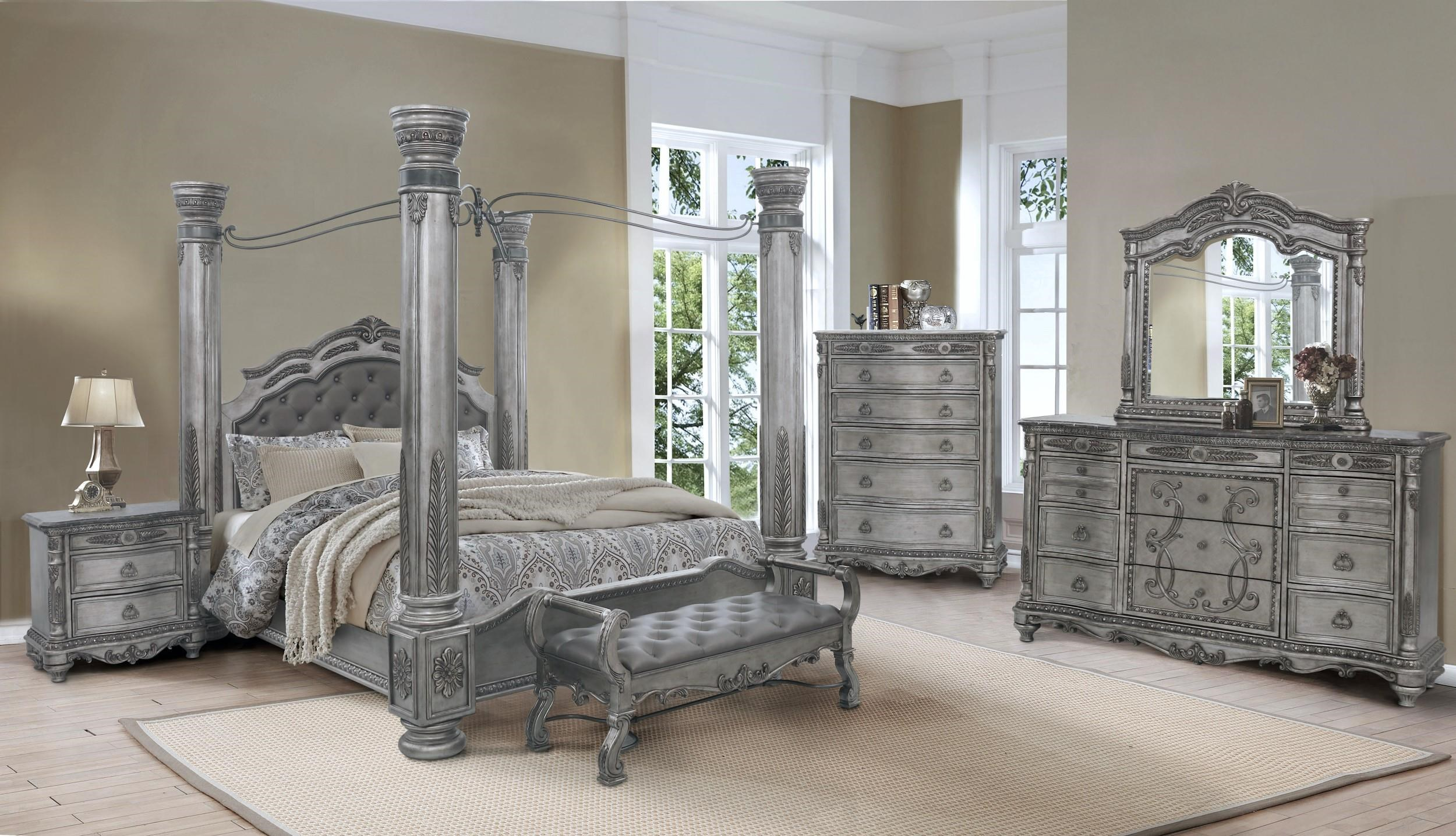 King Canopy Bed, Dresser and Mirror