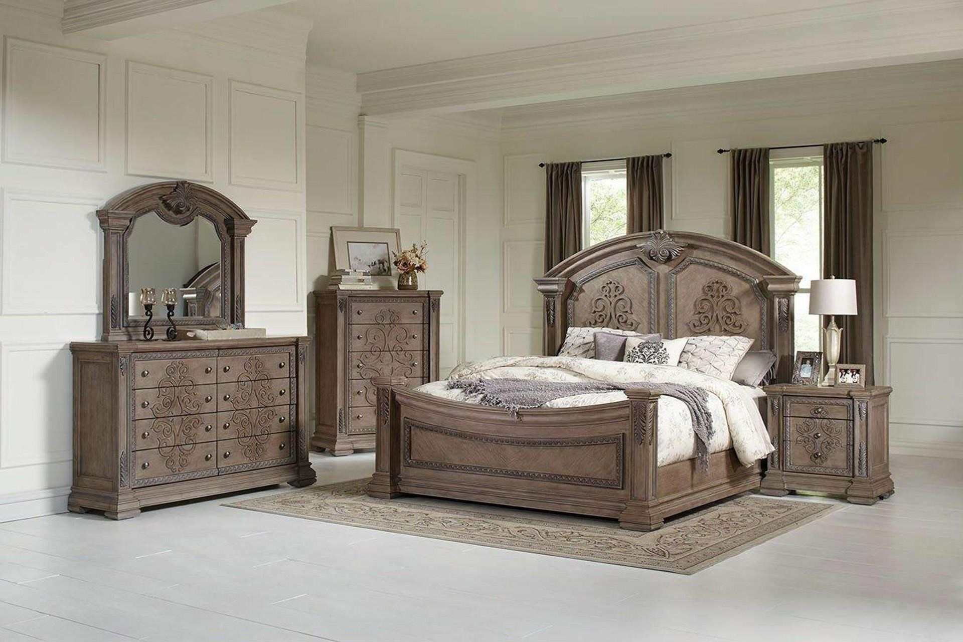 King Panel Bed, Dresser, Mirror, and Nightst